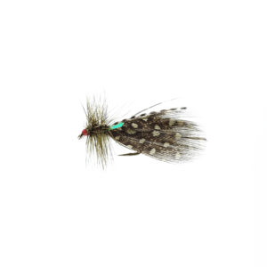 A tied fly with green feathers used for fly fishing.