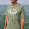 Doug Rodricks wearing an olive Sierra Drifters t-shirt and charcoal white trucker hat.