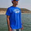 Doug Rodricks wearing a red and white Sierra Drifters hat and royal blue t-shirt.