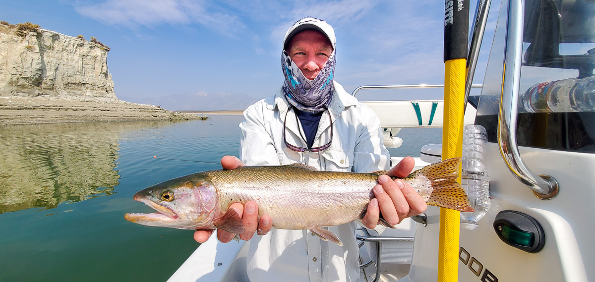 A rainbow trout from Crowley Lake with Sierra Drifters