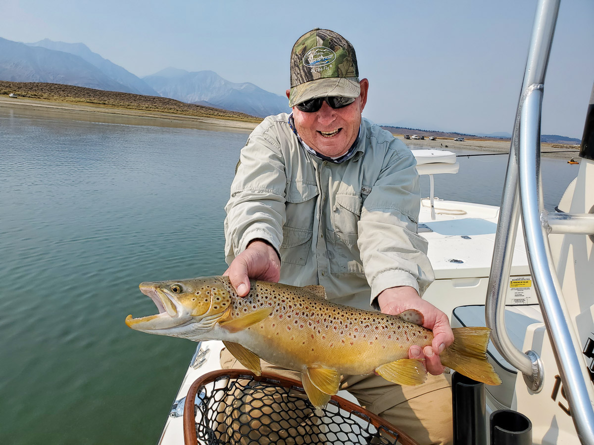 A brown trout from Crowley Lake with Sierra Drifters