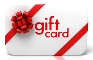 A white gift card with a red ribbon for the holidays.