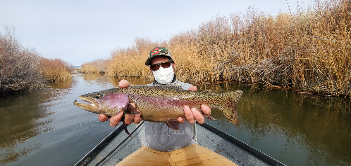 A fly fisherman sitting in a drift boat and holding a rainbow trout from the Lower Owens River.