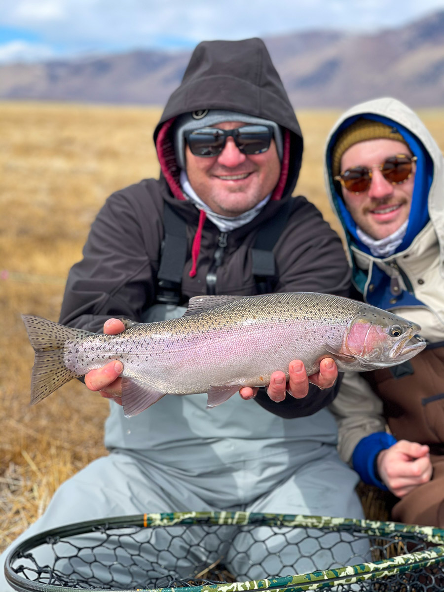A fly fisherman holding a rainbow trout in spawning colors from the East Walker River.