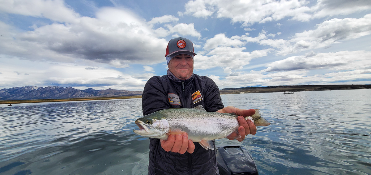 A fly fisherman wearing a grey baseball cap holding a fat rainbow trout on a lake.