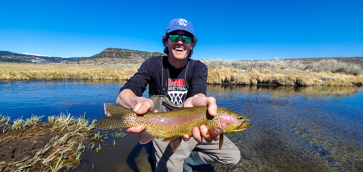 A fly fisherman with a blue hat holding a rainbow trout in spawning colors in a clear stream.
