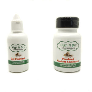 A liquid and powder desiccant for dry flies in fly fishing.