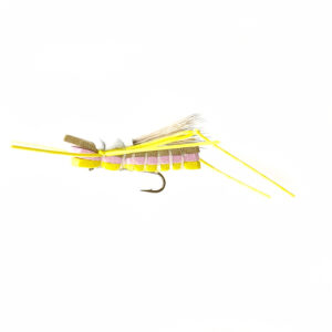 A grasshopper fly for fly fishing.