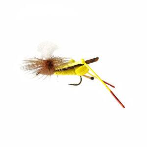 A foam grasshopper fly for fly fishing.