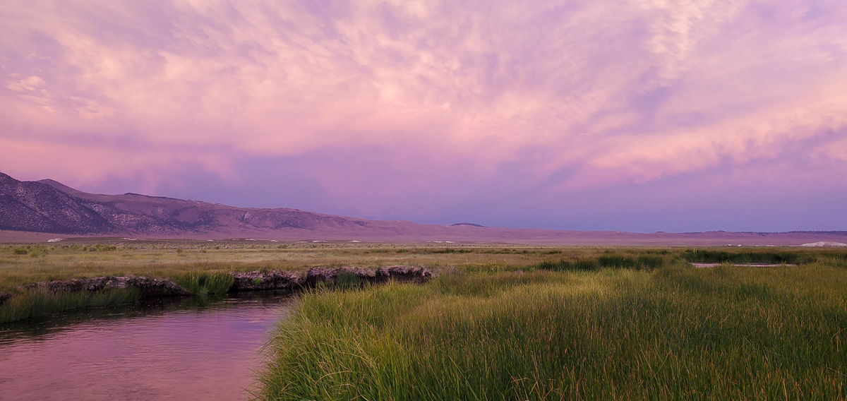 A green meadow at sunset with a river running through it and purple skies.